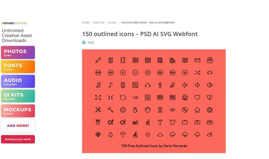 150 outlined icons